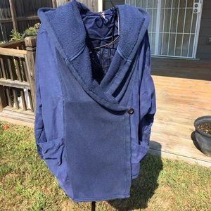 Free People Navy Blue Raw Hem Oversized Jacket